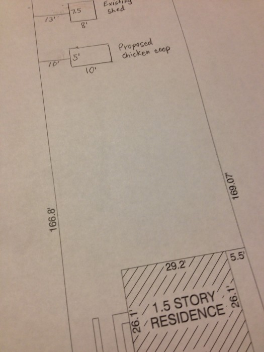 The location of our proposed chicken coop.