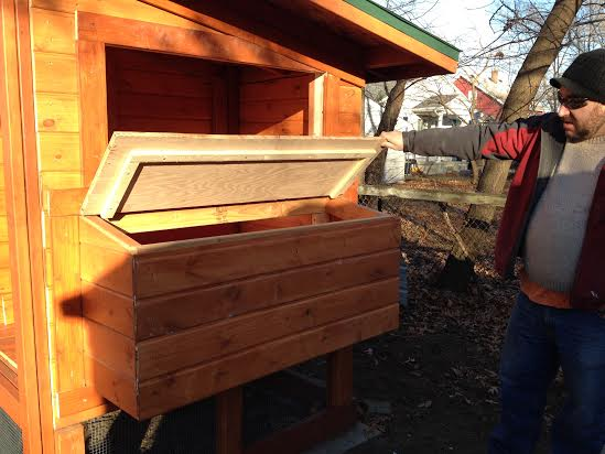 Matt lifts the lid of the nesting box. This is where we will collect the eggs.