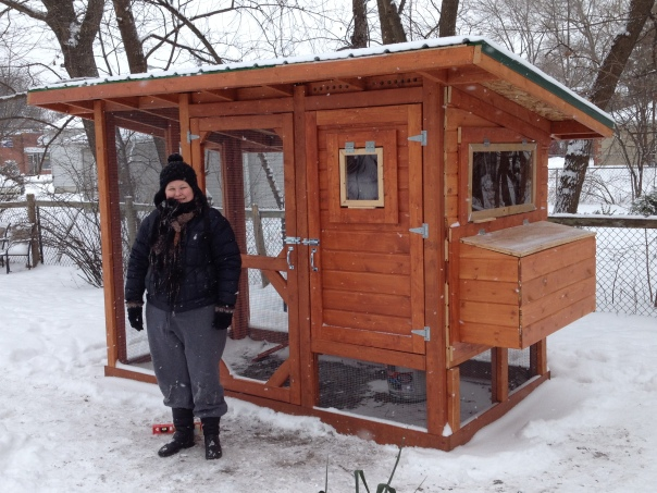 Jilli and her (almost) finished chicken coop.