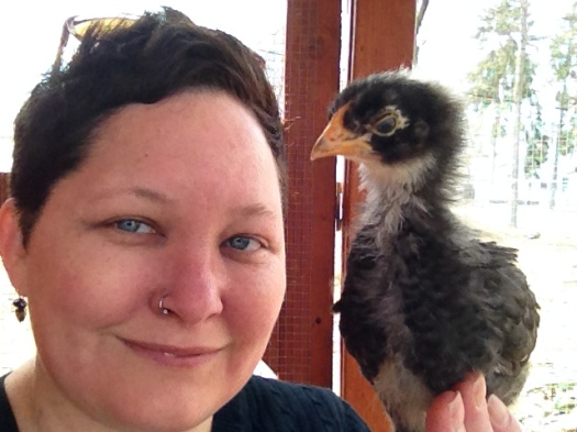 Jilli, with Baby Girl, on a visit to the chicken coop.