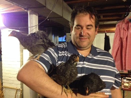 Matt has his hands full with (from left) Gigi, Nellie and Loretta.
